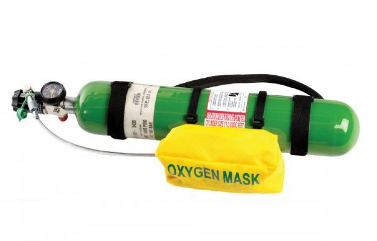 Oxygen cylinder and mask