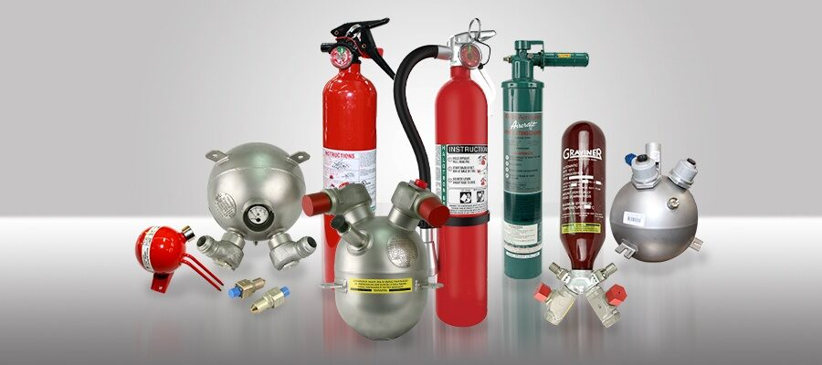 CASP Aerospace - fire extinguisher product display.