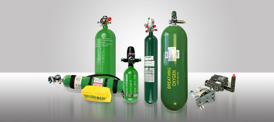 CASP Aerospace - product lineup of oxygen cylinders and regulator assemblies