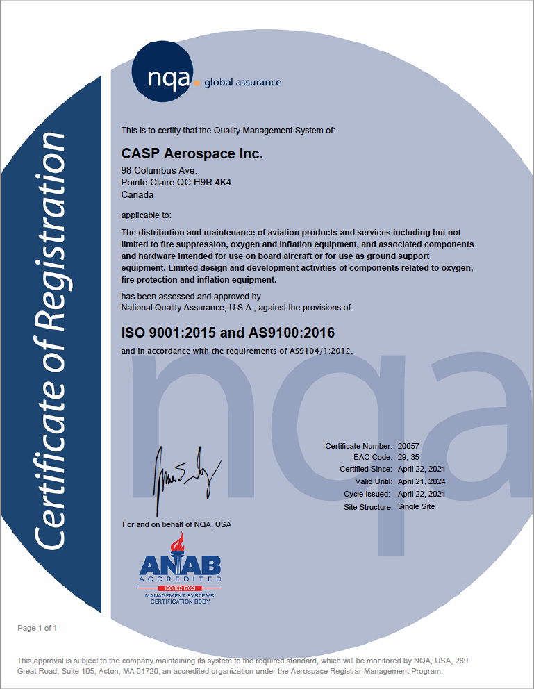 CASP Aerospace Inc. ISO 9001:2015 and AS9100:2016 Certificate of Registration